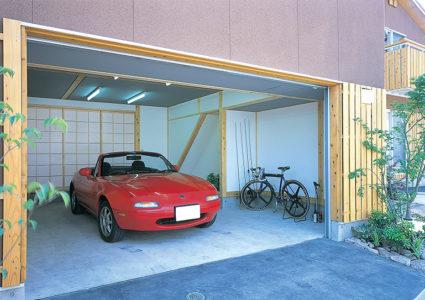 雨楽な家 土間ガレージ